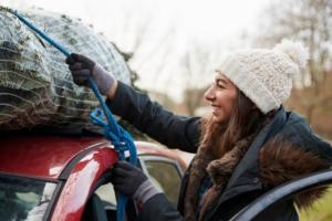 Transport von Weihnachtsbaum auf Auto