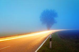 Nebelige Straße